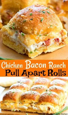 Love how easy these Chicken Bacon Ranch Pull Apart Rolls are to make Perfect for feeding a crowd! Chicken Bacon Ranch Pull A. Think Food, I Love Food, Good Food, Yummy Food, Yummy Lunch, Frango Bacon, Slider Recipes, Football Food, Football Party Foods