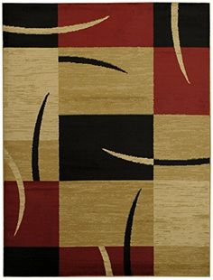 Maxy Home Contemporary Boxes 710 x 106 Red Ivory Beige Area Rug Pasha Collection PAS4690 >>> Read more reviews of the product by visiting the link on the image.