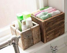 Boîte en bois rustique Bundle salle de bain par PalletablesUK