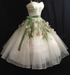 1950s Dress Wedding Dress Emma Domb Off White Green Floral Dress Bride Cocktail Full Skirt Gown 50s Costume Evening Formal Prom Gift her