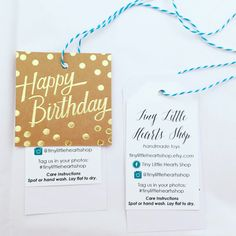 We get lots of requests for special birthday foxes, so we include a birthday tag from the Tiny Little Hearts Shop!