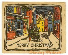 1920's holiday card | 1920s Vintage Woodcut Christmas Greeting Card, Unused - Ad#: 894790 ...