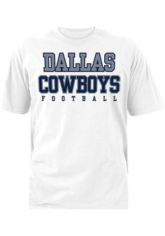 Give your little Dallas Cowboys fan something to cheer about with this Dallas Cowboys White Practice T-Shirt. Rally House has a great selection of new and exclusive Dallas Cowboys t-shirts, hats, gifts and apparel, in-store and online. Cowboys Gifts, Cowboys Shirt, Cowboy Store, Dallas Cowboys Hats, Cowboy Gear, Vinyl Shirts, Football Shirts, Short Sleeve Tee, Rally