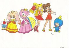 peach and daisy/amy and cream | Sonic and Mario Switcheroo by ~TanyaHedgehog on deviantART