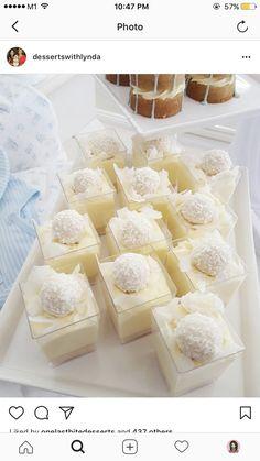 desserts desserts for baby shower desserts for weddings Mini Dessert Cups, Dessert Bars, French Macaroon Recipes, Delish Cakes, Dessert Table Decor, Baby Shower Desserts, Fancy Desserts, Just Cakes, Cafe Food