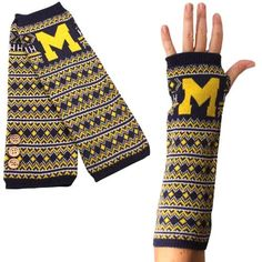 Michigan Wolverines Knit Arm Warmers - Navy Blue
