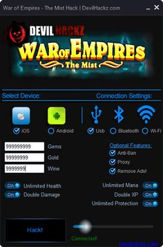 War of Empires The Mist Hack iOS Android Cheats Download War of Empires The Mist Hack iOS Android Cheats only at: http://devilhackz.com/07/war-of-empires-the-mist-hack-ios-android-cheats/  War of Empires The Mist Hack iOS Android Cheats: Unlimited Gems, Unlimited Gold, Unlimited Wine, Unlimited Health, Unlimited Mana, Unlimited Protection, Double Damage, Double XP and Remove ADS. War of Empires The Mist Hack Working with all iOS and Android Devices. To use This Hack Your device doesn't…