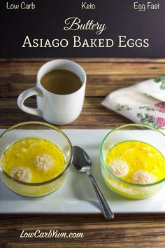 These low carb Buttery Asiago Baked Eggs make a tasty meal. Enjoy them for breakfast, lunch or dinner on your Keto Egg Fast diet!
