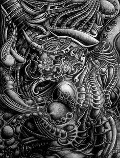 Drawing~EvilChild by Mayamillplus on DeviantArt Hr Giger Art, Biomech Tattoo, 4 Tattoo, Alien Tattoo, Abstract Sculpture, Sculpture Art, Metal Sculptures, Bronze Sculpture, Organic Tattoo