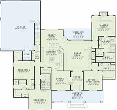 2000 square foot house plans 2.5 baths 4 bedrooms open floor plan with sunporch split floor plan of bedrooms - Google Search: