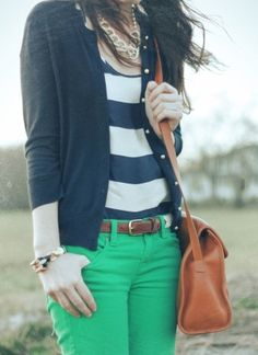 Would I ever really wear mint-green jeans? Not sure, but I do like this combo of the green with the navy stripes.