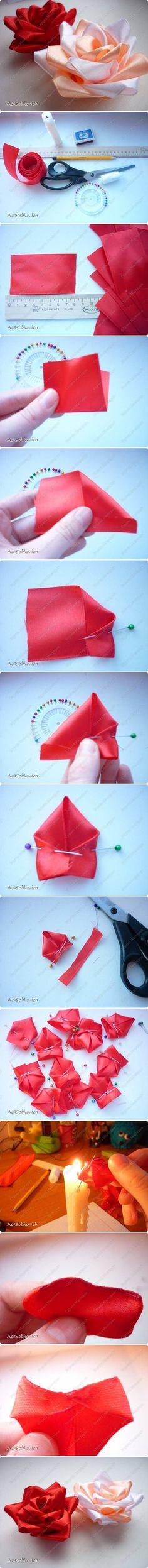 DIY Ribbon Kanzashi Rose