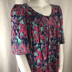 Vtg 80s Rainbow Jo Womens Muumuu House Dress 1XL PocketsL | eBay