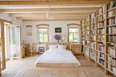 bedroom- love the floor, windows, book shelf - everything really