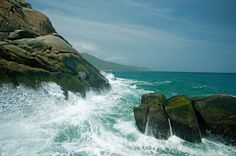 Postcard scene of the ocean from Parque Tayrona, Caribbean coast, Colombia