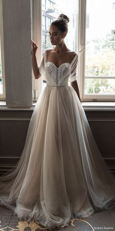 elihav sasson spring 2018 bridal illusion half sleeves sweetheart beaded bodice ball gown wedding dress (vj 006) mv train princess romantic