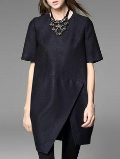 5267acba51 Dark Blue Polyester Asymmetric Short Sleeve Asymmetrical Mini Dress