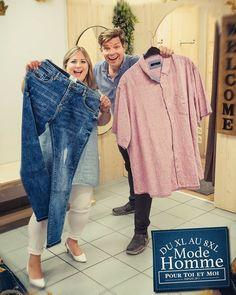 Fini la galère pour vous messieurs, l'espace homme est ouvert allant de la taille XL à 8XL. Grand choix de #jeans #chemises #t-shirt #pantalon #polo et accessoires Sweat Shirt, Blazer, Mom Jeans, Pants, Fashion, Plus Sized Clothing, Mens Big And Tall, Open Set, Chemises