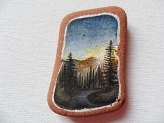 Forest sunrise - Original miniature painting on Scottish beach pottery by Alienstoatdesigns on Etsy