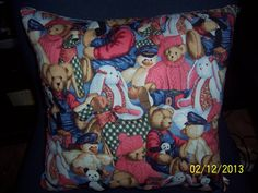 Handmade Blue Jean bear  throw pillow by MawmaRosesCrafts on Etsy, $15.00