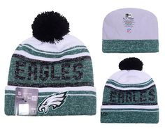 Men's / Women's Philadelphia Eagles New Era 2016 NFL Snow Dayz Knit Pom Pom Beanie Hat - White / Green / Black