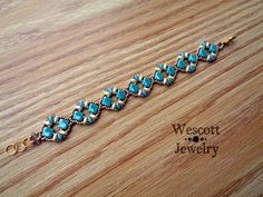 Teal Gold and Cream Diadem Bracelet by WescottJewelry on Etsy
