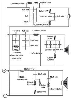 Crossover Filter Schematic for the Thiel Electronic Circuit Design, Electronic Engineering, Electrical Engineering, Subwoofer Box Design, Speaker Box Design, Audio Crossover, Speaker Plans, Speaker Amplifier, Diy Speakers