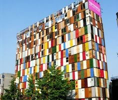 1,000 recycled doors transform exterior of 10-story building...cool.