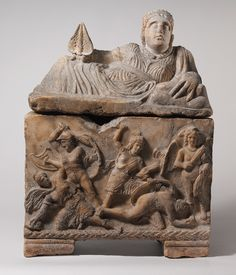 Etruscan Cinerary Urn, c. late 4th or early 3rd century BC    Alabaster