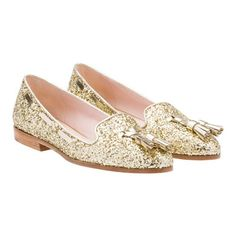 You'll be all that glitters in these fabulous gold @MiuMiu Glitter Slippers with Tassels!