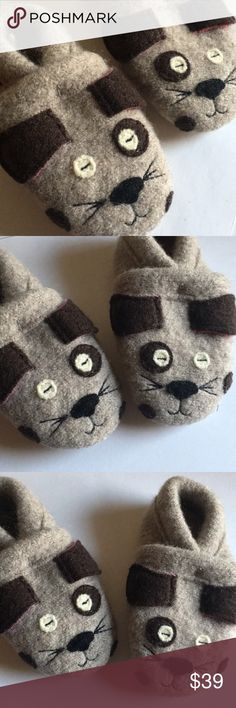 🐒Baby Boy Girl Slippers Boiled Wool Puppy Dog Brand new! In the signature bag. Size 2 Garnet Hill Shoes Slippers