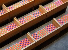 Saint Peter's church, design by Vignelli, NEEDLEPOINT DETAIL, GEOMETRIC AND COLOR VARIATION