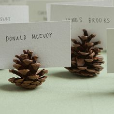 Pine cone place cards are the way to go for the perfect fall wedding.    Image via  Frugal Bits .