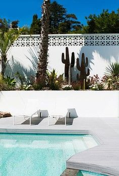 Swimming Pool Ideas : The desert gardens and architecture of Palm Springs inspired the outdoor spaces Outdoor Spaces, Outdoor Living, Breeze Block Wall, Living Pool, Palm Springs Style, Dream Pools, Exterior, Tropical Houses, Tropical Paradise