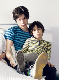ezra miller and his mini me for a great movie, We Need To Talk About Kevin.