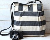 Water Proof - Diaper bag - Messenger bag-Tote STOCKHOLM  Black and Ecru Stripes LEATHER STRAP  10 pockets