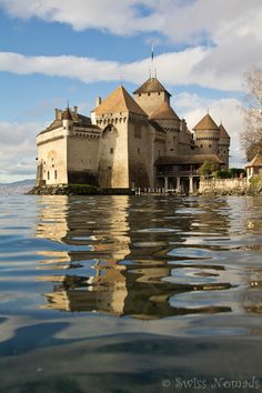 The Chillon Castle sits on a rock in the Lake Geneva in Western Switzerland.