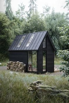 ideas for house black exterior metal roof Tiny House Cabin, Tiny House Design, My House, Scandinavian House, Scandinavian Architecture, Cabana, Casas Containers, Cabins And Cottages, Log Cabins