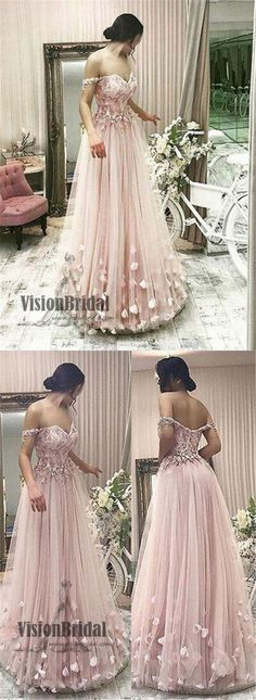 Princess Off The Shoulder Flower Appliques A-line Long Prom Dress, Beautiful Prom Dress, VB0462 #promdress #promdresses