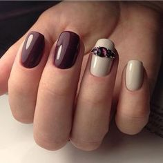 Autumn nails, Beige gel polish, Burgundy nails ideas, Everyday nails, Expensive nails, Jeans nails, Luxury nails, Maroon nails