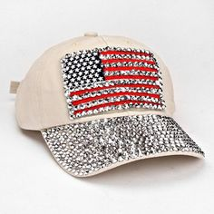 ae015a90bf7 USA American Flag Bling Bling Crystal Beige Denim Baseball Cap. Get the  lowest price on