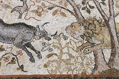Lion and bull. 6th C. basilica mosaics of Heraclea Lyncestis, Macedonia. Photo: Helen Miles Mosaics