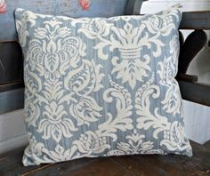 Blue & Cream Damask Weave Pillow 16x16 by DragonflyFarmDesign, $28.00