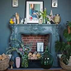 A Riot of Color and Charm in a West Yorkshire Victorian – Design*Sponge Victorian Bedroom, Victorian Fireplace, Modern Victorian, Victorian Design, Fireplace Mantle, Victorian Homes, Victorian Wall Decor, Fireplace Decorations, Christmas Decorations