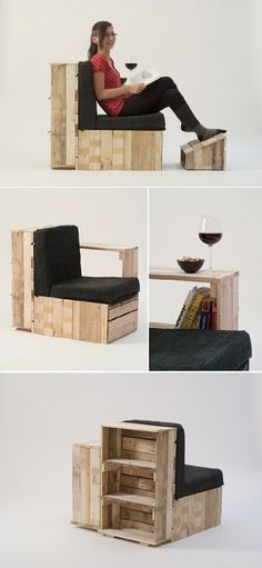 Pallets chair design - I especially like the wine and bookshelf portion of this.