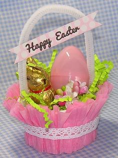 Here are some quick and inexpensive little Easter baskets made with Dollar Store crepe paper streamers, nut cups, and pipe cleaners.