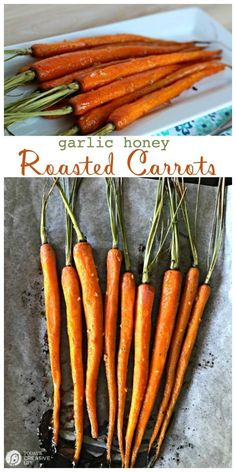 Honey Roasted Carrots with Garlic are savory and sweet. Perfect side dish any time of year. Click the photo for the recipe. Easter Side Dishes, Holiday Side Dishes, Side Dishes Easy, Paula Deen, Vegetable Side Dishes, Vegetable Recipes, Veggie Side, Side Dish Recipes, Low Carb Recipes