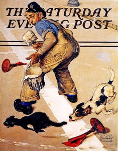 Road Line Painter's Problem (1937) by Norman Rockwell