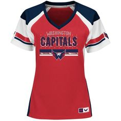 Majestic Women's Washington Capitals Ready to Win Shimmer Jersey (320 ARS) ❤ liked on Polyvore featuring nhl jerseys, washington capitals jersey, majestic jerseys and red jersey
