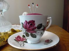 Antique Royal Kent Bone China Teacup and Saucer Pincushion Burgundy Vintage Hankie Fabric, Burgundy Rose Flowers Gold Trim Sewing Quilting by KylesUpcycle on Etsy